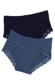 Lace Trim Comfort Panties - 2 Pack