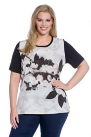 Rose Front Print Top
