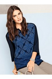 Mixed Pattern Border Print Blouse