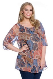 Paisley Patchwork Print Layer Blouse