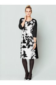 Rose Print Front Inset Dress
