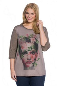 Photo Print Face Knit Top
