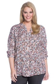 Watercolor Abstract Floral Print Blouse