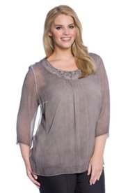 Oil Dyed Crinkle Chiffon Blouse