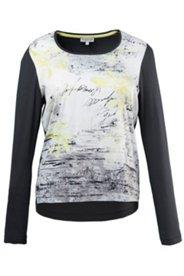 Shirt, Rundhalsausschnitt, Langarm, leichter Vokuhila, Materialmix