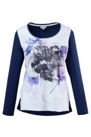 Shirt, Rundhalsausschnitt, bedrucktes Vorderteil, leichter Vokuhila, Viskosemischung
