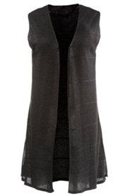 Weste, Strickweste, kragenlos, lange Form, Seitenschlitze, Baumwollmischung