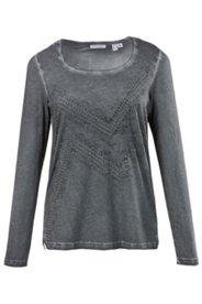 Shirt, moderne Waschung, Beschmückung, Rundhalsausschnitt, Baumwolle, langarm