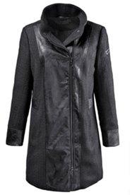 Mantel in Wolloptik mit Lederimitat, Stehkragen