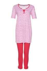 Schlafanzug, gemustert, Oberteil länger geschnitten, Hose 3/4 Länge