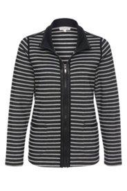 Jacke aus feinem Streifenstrick mit Lederoptik-Einfassungen
