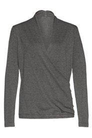 Pullover in Wickeloptik aus Feinstrick mit V-Ausschnitt, langarm