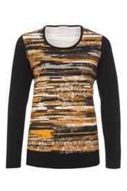 Shirt mit modischem Streifeneinsatz, Rundhalsausschnitt
