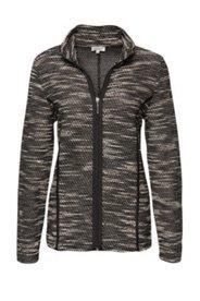Jacke aus zweifarbigem Boucléstrick mit Lederoptik-Paspel