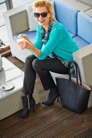 Hose Julia mit trendiger Beschichtung, elastische Baumwoll-Qualität