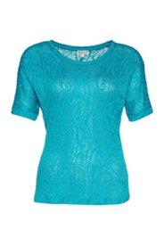 Shirt mit Jacquardmuster allover, Rundhalsausschnitt, halbarm