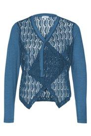 Jacke aus Netz-Qualität, transparent, V-Ausschnitt, lange Ärmel
