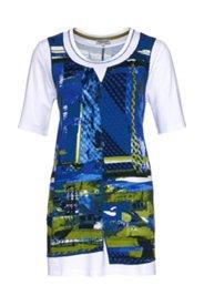 2-in-1-Shirt modisch bedruckt, längere Form, Rundhalsausschnitt