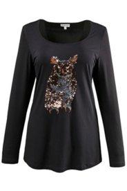 Longshirt, Eulen-Motiv aus glitzernde Pailletten