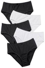 Ulla Popken Slips, 5er-Pack, Zierschleife, elastische Qualität, schwarz, weiß - Große Größen
