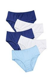 Ulla Popken Slips, 5er-Pack, elastische Qualität, blau, weiß - Große Größen