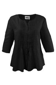 """Ulla Popken Pintuck Linen Blouse plus size,  plus size fashion plus size appare"