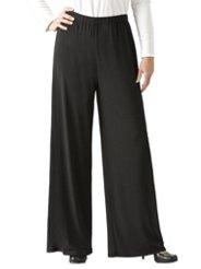 """Ulla Popken Matte Jersey Wide-leg Elastic Waist Pants plus size,  plus size fashion plus size appare"