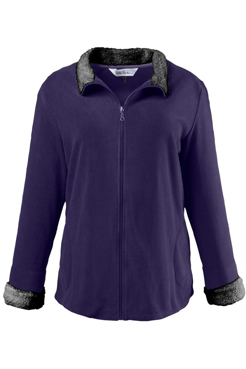 Anzug-Oberteil, Reißverschluss, Taschen, Langarm, Teddyfleece - Große Größen