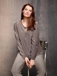 "Ulla Popken Keyhole Silk Blouse"" plus size,  plus size fashion plus size appare"