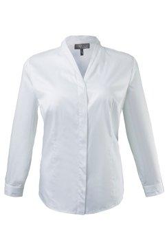 Bluse, V-Ausschnitt mit Einsatz, Elasthan