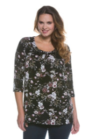 Ulla Popken Vintage Floral Print Knit Top plus size,  plus size fashion plus size appare