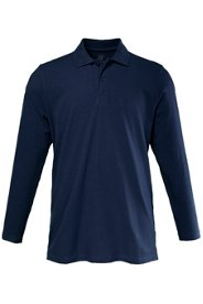 Ulla Popken Poloshirt, Langarm, Piqué-Jersey, Polokragen, Seitenschlitze, Rücken leicht verlängert, gekämmte Baumwolle, große Größen - Große Größen