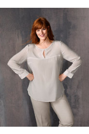 Ulla Popken Keyhole Silk Blouse plus size,  plus size fashion plus size appare