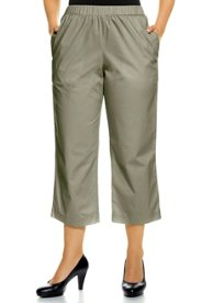 "Ulla Popken Stretch Twill All Elastic Waist Straight Leg Capri Pants"" plus size,  plus size fashion plus size appare"