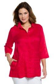 "Ulla Popken Embroidered Hem Linen Blouse"" plus size,  plus size fashion plus size appare"