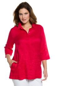 Ulla Popken Embroidered Hem Linen Blouse plus size,  plus size fashion plus size appare