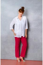 Ulla Popken Embroidered Linen Blouse plus size,  plus size fashion plus size appare