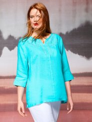 "Ulla Popken Delicate Embroidered Linen Blouse"" plus size,  plus size fashion plus size appare"