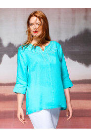 Ulla Popken Delicate Embroidered Linen Blouse plus size,  plus size fashion plus size appare