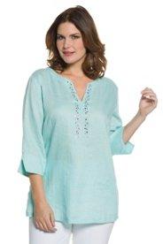 "Ulla Popken Decorative Stone Linen Blouse"" plus size,  plus size fashion plus size appare"