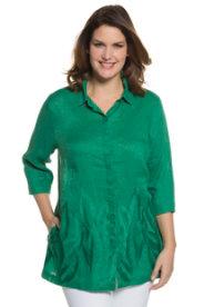 Ulla Popken Embroidered Leaf Linen Blouse plus size,  plus size fashion plus size appare