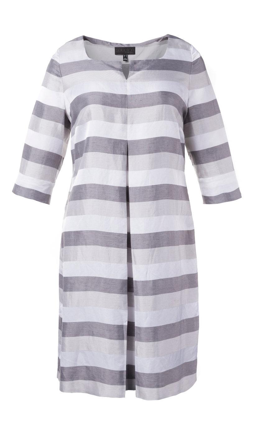 Ulla Popken linnen jurk lichtgrijs