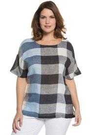 "Ulla Popken Check Linen Blouse "" plus size,  plus size fashion plus size appare"