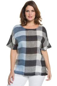 Ulla Popken Check Linen Blouse plus size,  plus size fashion plus size appare