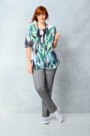 Ulla Popken Linen Leaf Print Blouse plus size,  plus size fashion plus size appare