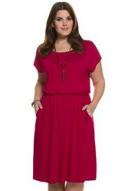 Ulla Popken Kleid, locker geschnitten, Rundhals, überschnittene Schultern, Jersey, elastischer Taillenbund - Große Größen