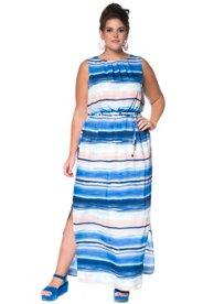 Kleid, Maxi-Form, Allovermuster, elastische Taillen-Quernaht, Bindegürtel, Körperfutter - Große Größen Sale Angebote Ruhland