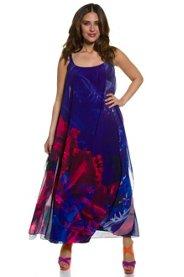 Ulla Popken Kleid, leichtes Sommerkleid, Blütenmuster, gefütterter Chiffon, weite Form - Große Größen