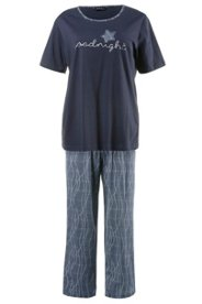 Ulla Popken Pyjama, Schriftzug ´´Goodnight´´, 100% Baumwolle - Große Größen