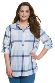Ulla Popken Plaid Placket Long Sleeve Cotton Blouse plus size,  plus size fashion plus size appare